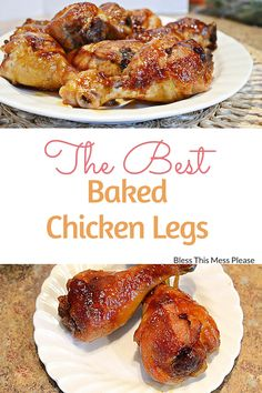 This easy recipe with homemade sauce, is hands down the best way to make Baked Chicken Legs. You only need 5 ingredients for this delicious chicken dinner! Easy Chicken Drumstick Recipes, Chicken Recipes, Chicken Meals, Lamb Recipes, Turkey Recipes, Baked Chicken Legs, Roasted Chicken, Carne, The Best