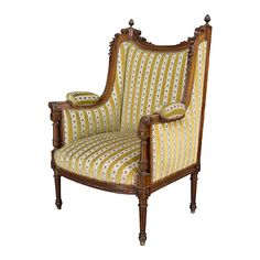 French Louis XVI Style Carved Wingback Armchair or Bergere