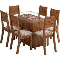 Mesa de Jantar 6 Cadeiras Vidro Retangular Mônaco Viero $719