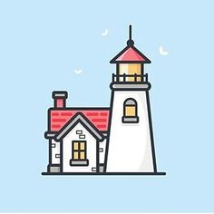 Lighthouse by Scott Trusk #follow us to see more creative and inspirational design everyday!  #design #illustrator #logo #designspiration #icon #icondesign #vector #graphicdesign #simple #creative #flatdesign #graphicdesigner #pictoftheday #art #pixel #inspiration #iconaday #shoutout #lighthouse #shore #soft #light by bananas_cdc