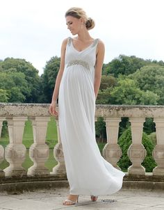 Mist Gray Embellished Grecian Maternity Gown | Seraphine | Grecian wedding inspiration | Pregnant bride