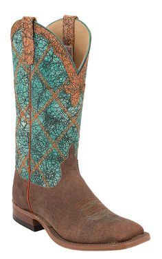 Anderson Bean® Men's Brown with Turquoise Wash Double Welt Square Toe Cowboy Boot