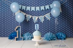 Blue boy cake smash - giant cupcake Ashleigh Whitt Photography - Cleveland Cake Smash Photographer