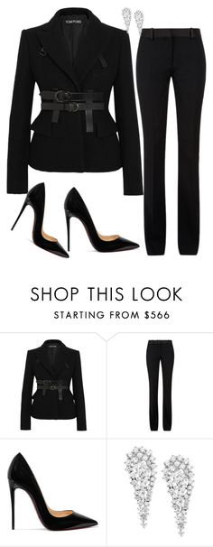 """""""Untitled #1129"""" by styledbyhkc ❤ liked on Polyvore featuring Tom Ford, Victoria Beckham, Christian Louboutin and Wrapped In Love"""
