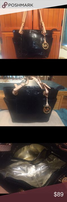 Authentic Michael Kors Bag EEL Skin Leather Beautiful Authentic Michael Kors Bag EEL Skin Leather Outside With Gold Lining and Tan Leather Straps Gold Hardware Won't Last Long!!! Michael Kors Bags Shoulder Bags