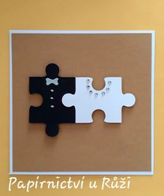 don't remember who posted this but I love it! Diy Anniversary Cards For Parents, Wedding Anniversary Cards, Homemade Christmas Cards, Homemade Cards, Cool Cards, Diy Cards, Puzzle Piece Crafts, Handmade Wedding Gifts, Simple Birthday Cards