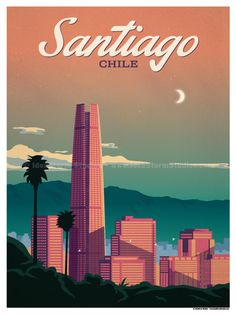 Vintage Poster Image of Santiago Poster - Browse all products in the Travel Posters category from IdeaStorm Studio Store. Voyage Usa, Tourism Poster, Travel Wall, Travel Themes, Vintage Travel Posters, Grafik Design, Illustrations And Posters, Trip Planning, Art Deco