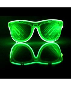 d53117f26230 GloVision - Green El Wire Double Diffraction Glasses - Light Up Prism  Glasses