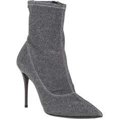 GIUSEPPE ZANOTTI Mary Stretch Ankle Boot Pewter Fabric ($199) ❤ liked on Polyvore featuring shoes, boots, ankle booties, ankle boots, pewter fabric, glitter bootie, short high heel boots, lined ankle boots, high heel boots and lined boots