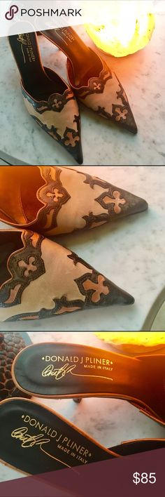 Donald J. Pliner Mules Beautiful Mules by Donald J Pliner. Ornate with three leather colors. Short kitten heels, and super elegant. Donald J. Pliner Shoes Mules & Clogs
