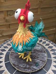 """Hei Hei 3D sculpted rooster stands 16"""" tall and is constructed on a 12"""" cake boardMaterials used: threaded rod armature, RKT,..."""