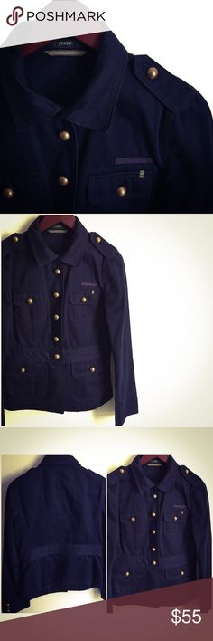 J. Crew Military Jacket ▫️J. crew Military Jacket ▫️Slim Fit (see measurements) ▫️Color: Dark Blue (appears brighter on pictures) ▫️Great Preowned Condition 🚫No Trades🚫 J. Crew Jackets & Coats