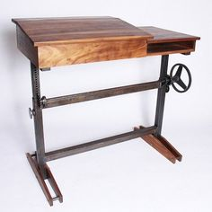 An adjustable height stand-up desk, so we can work on our feet. Metal Furniture, Industrial Furniture, Home Furniture, Adjustable Table, Adjustable Height Desk, Diy Standing Desk, Sit Stand Desk, Home Office Space, Diy Desk