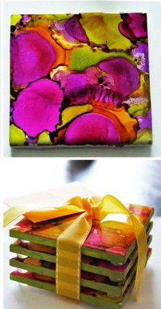 coasters made w/ alcohol & alcohol ink to make a batik effect
