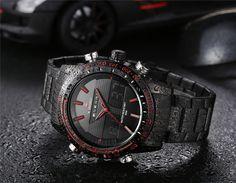Men Watches NAVIFORCE 9024 Luxury Brand Full Steel Quartz Clock Digital LED Watch Army Military Sport Watch