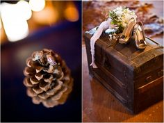 Rustic Wedding Details  Love the pine cone!!