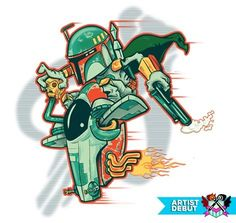 A Boba Fett t-shirt in the style of Rat Fink. Art by Matty Rogers aka poopsmoothie. This is a fun t-shirt for fans of Star Wars and Boba Fett. Boba Fett Tattoo, Boba Fett T Shirt, Star Wars Boba Fett, Jango Fett, Star Wars Tattoo, Garage Art, Star War 3, Graphic Artwork, Star Wars Humor
