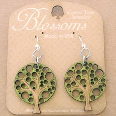 ABSTRACT TREE Green Tree Jewelry LIME laser-cut wood earrings USA 133 Blossoms #GreenTreeJewelry #DropDangle