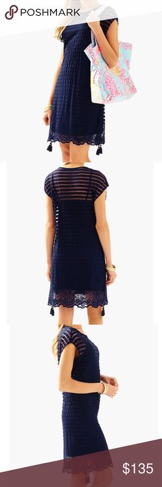 Lilly Pulitzer Turtle Bay Knit Adria Tunic Dress Lilly Pulitzer Navy Blue Turtle Bay Knit Mesh Stripe Adria Tunic Dress. Boatneck. Attached Slip. Tassels on bottom side Lilly Pulitzer Dresses Mini