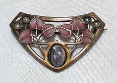 Antique Art Nouveau Heinrich Levinger Jugendstil Plique A Jour 900 Silver Brooch | eBay