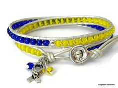 Down Syndrome Awareness Bracelet Czech Gl By Angelicambitions Layered Bracelets Leather Beaded