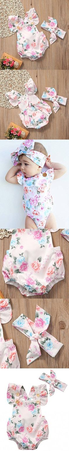 GRNSHTS Baby Girls Full Flower Print Buttons Ruffles Romper Bodysuit With Headband (90cm / 12-18 Month, Pink)