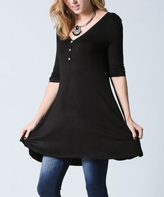 Another great find on #zulily! Black Button-Detail Half-Sleeve Swing Tunic #zulilyfinds