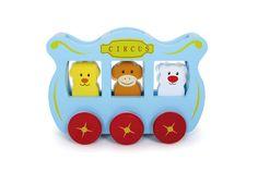 Een schattig trek speeltuig van hout! Leeuw, aap en ijsbeer dansen in de circuswagen. Wie moet als volgende uitstappen? Let op! Volgende halte: Antarctica!