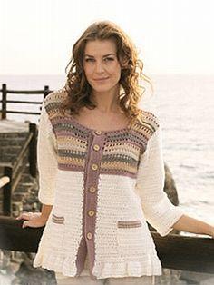 Crochet pattern - striped jacket...this would look pretty in Alpaca yarn =)