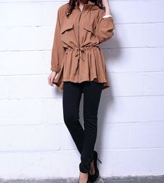 Casual Style Hooded Neck Draw Cord Solid Color Ruffle Zipper Long Sleeve Coat For Women (AS THE PICTURE,ONE SIZE) | Sammydress.com