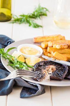 Portobello Mushroom Steak with Polenta Chips and Bearnaise recipe - vegetarian steak and chips | Recipe at