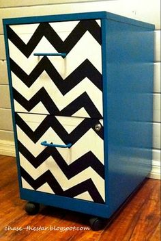 painted chevron file cabinet (friday fun party feature)-maybe then I would put it out instead of hiding it.