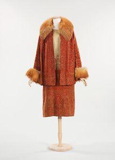Ensemble, Dress, Coat L. Wilson Date: 1923 Culture: American Medium: wool, fur Accession Number: 2009.300.3767a, b