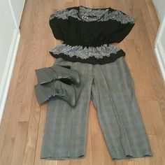 Grey Herringbone Capris Cute Grey Herringbone Capris. Great paired with booties or tall boots or even ballet flats. Willi Smith Pants Capris