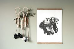 The black and white Roaring bear wall art print has an abstract feeling and brings strong energy to a room. Printed on high-quality, eco-friendly paper. Nordic Design, Scandinavian Design, Roaring Bear, Wall Art Prints, Fine Art Prints, Wood Poster Frames, Eco Friendly Paper, Bear Art, Graphic Design Posters