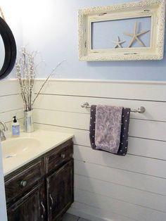 New Bathroom decor Half Bathroom Makeover -. How To Decorate A Small Half Bath Bathroom Wall Cabinets, Bathroom Furniture, Shiplap Bathroom, Barn Wood Cabinets, Oak Cabinets, Bathroom Photos, Bathroom Ideas, Bathroom Remodeling, Bathroom Makeovers