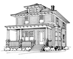 American Foursquare Architecture & Interiors - Old House Restoration, Products & Decorating Historical Architecture, Architecture Details, Interior Architecture, American Gothic House, American Houses, Tri Level House, Four Square Homes, House Journal, Victorian Buildings