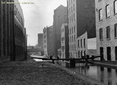Rochdale Canal, looking towards Deansgate, 1960.