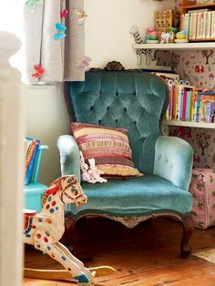 aqua velvet chair - I love this in a nursery! It's like a Little Golden Book came to life!