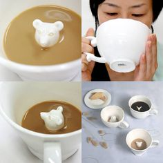 Whimsical tea cups. Animals peek up over your tea.