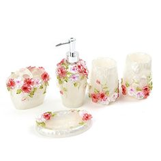 5 piece Bathroom set for indoor Soap dish, Soap Dispenser, toothbrush holder and tumbler Environmental health , durable and not easy to break Bathroom Rugs, Bath Rugs, Gold Color Scheme, Eclectic Living Room, Welcome Mats, Clean Design, Beautiful Roses, Soap Dispenser, Country Style