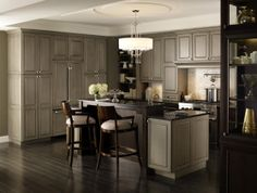 Traditional kitchen with Brookside and Riff Cherry cabinets in Pumice and Chestnut finishes Stained Kitchen Cabinets, Kitchen Cabinets Pictures, Shaker Kitchen Cabinets, Custom Bathroom Cabinets, Custom Cabinets, Kitchen And Bath, New Kitchen, Kitchen Ideas, Maple Kitchen