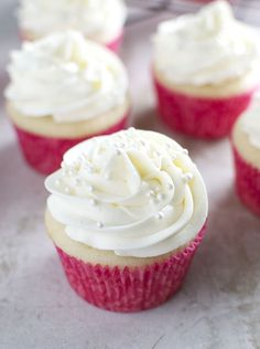 Almond Cupcakes with Whipped Almond Buttercream Frosting are the perfect sweet treat for weddings, bridal showers, and baby showers.