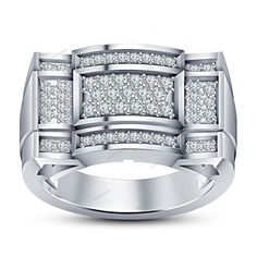 In Prong Set Round Simulated Diamond Unique Design Men's Band Ring 925 Silver…