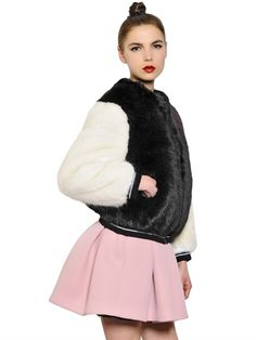 Faux-fur Bomber and pink neoprene little dress Fur Bomber, Bomber Jacket, Little Dresses, Furs, Faux Fur, Winter Fashion, Fur Coat, Pink, Jackets