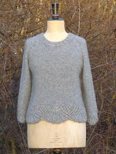 Kort trøje med 3/4 ærme - strikkeopskrift fra Traditionel strik