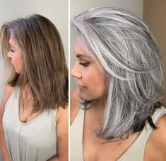 Stylist shows gorgeousness of grey hair instead of covering it up Grey Hair Care, Long Gray Hair, Silver Grey Hair, White Hair, Curly Gray Hair, Medium Hair Styles, Curly Hair Styles, Natural Hair Styles, Grey Hair Transformation