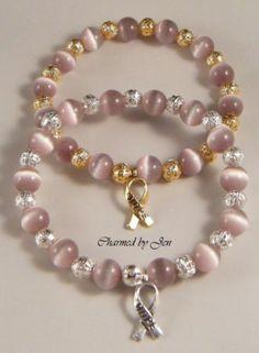 Lavender Light Purple Awareness Cat S Eye Filigree Bracelet W Hope Ribbon Charm