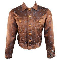 Preowned Gaultier Jeans By Jean Paul Gaultier M Copper & Blue Skull... (675 BRL) ❤ liked on Polyvore featuring outerwear, jackets, blue, metallic jackets, blue cropped jacket, copper jacket, skull jacket and brown trucker jacket