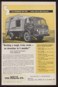 1957 Heil garbage truck Woodbridge New Jersey trash truck photo trade print ad